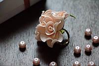 Колечко квіткове персикове з фоамирана