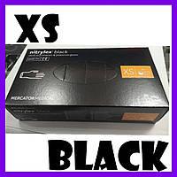Перчатки нитриловые одноразовые черные упаковка medplast 100 штук  размер xs
