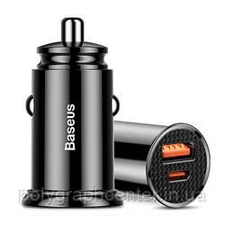 Автомобильное зарядное устройство Baseus Circular Plastic USB, Type-C PD3.0, QC4.0, black