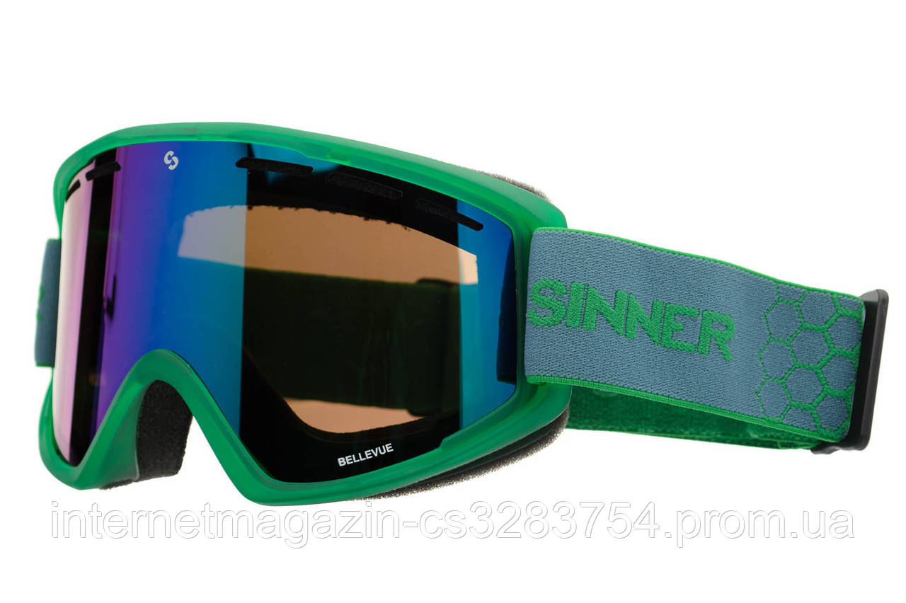 Маска гірськолижна Sinner BELLEVUE GREEN Transparent-GREEN Mir Green (SIGO-173-76-28)