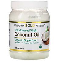 Органическое кокосовое масло первого холодного отжима, California Gold Nutrition,1,6 л