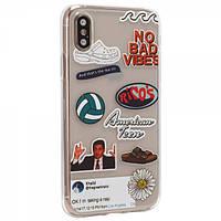 Чехол TTech Stickers TPU Series для Apple iPhone Xs Max Design 1 Transparent (BS-000066429)