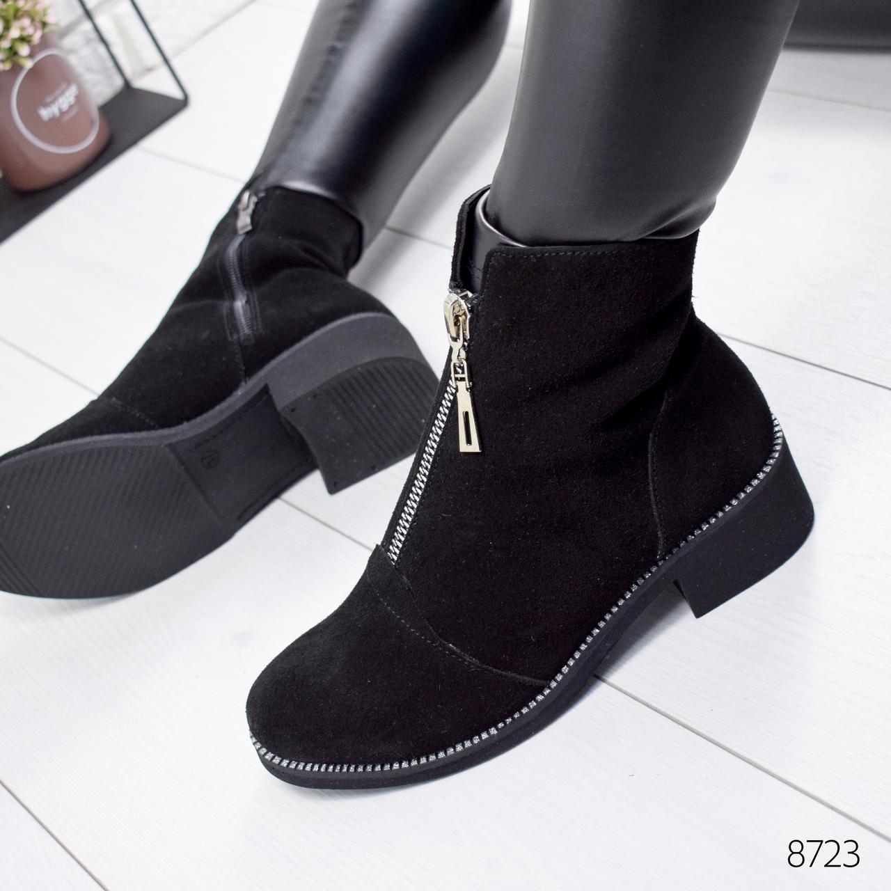 Ботинки женские Sorini черные замша 8723 Зима