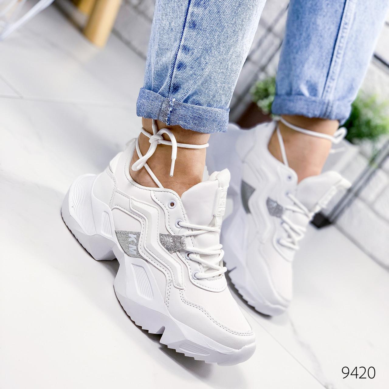 Кроссовки женские Brows белые+серебро 9420