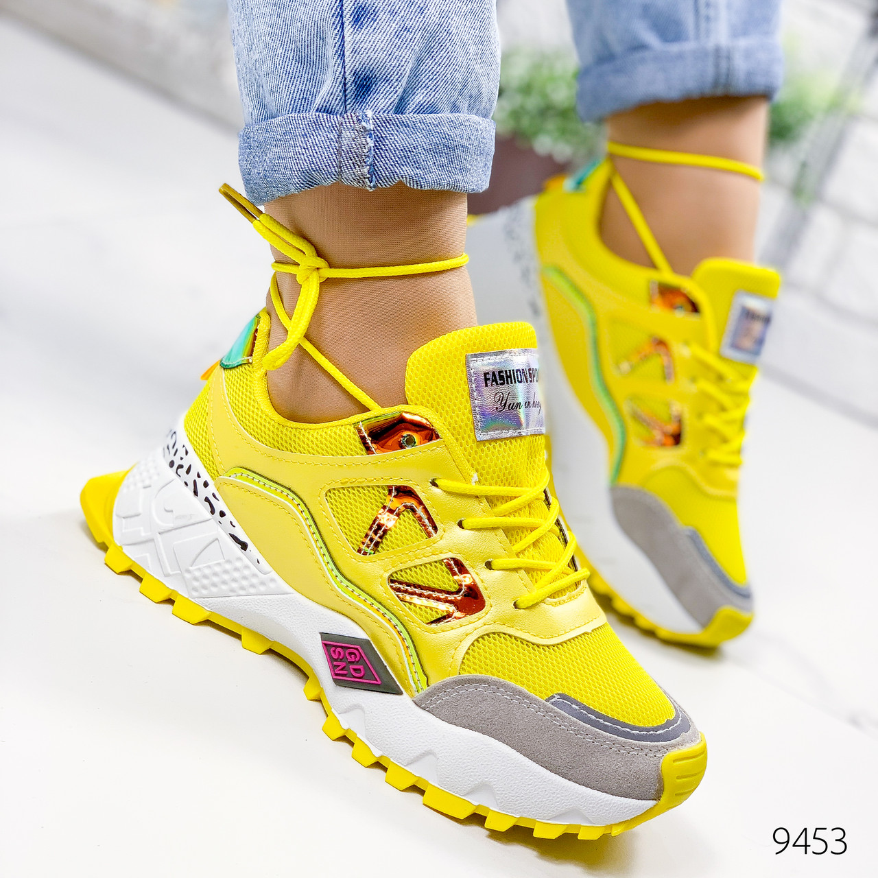 Кроссовки женские Cherilh желтый + голографик 9453