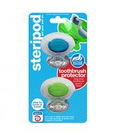 Steripod Антибактериальный чехол для зубной щетки, кристально чистый синий + зеленый (в упаковке 2 шт.)