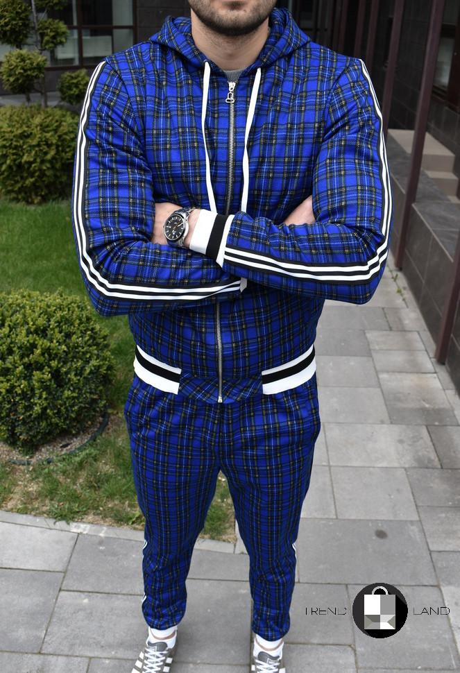 Мужской спортивный костюм в клетку с капюшоном+штаны Scot Green Синий