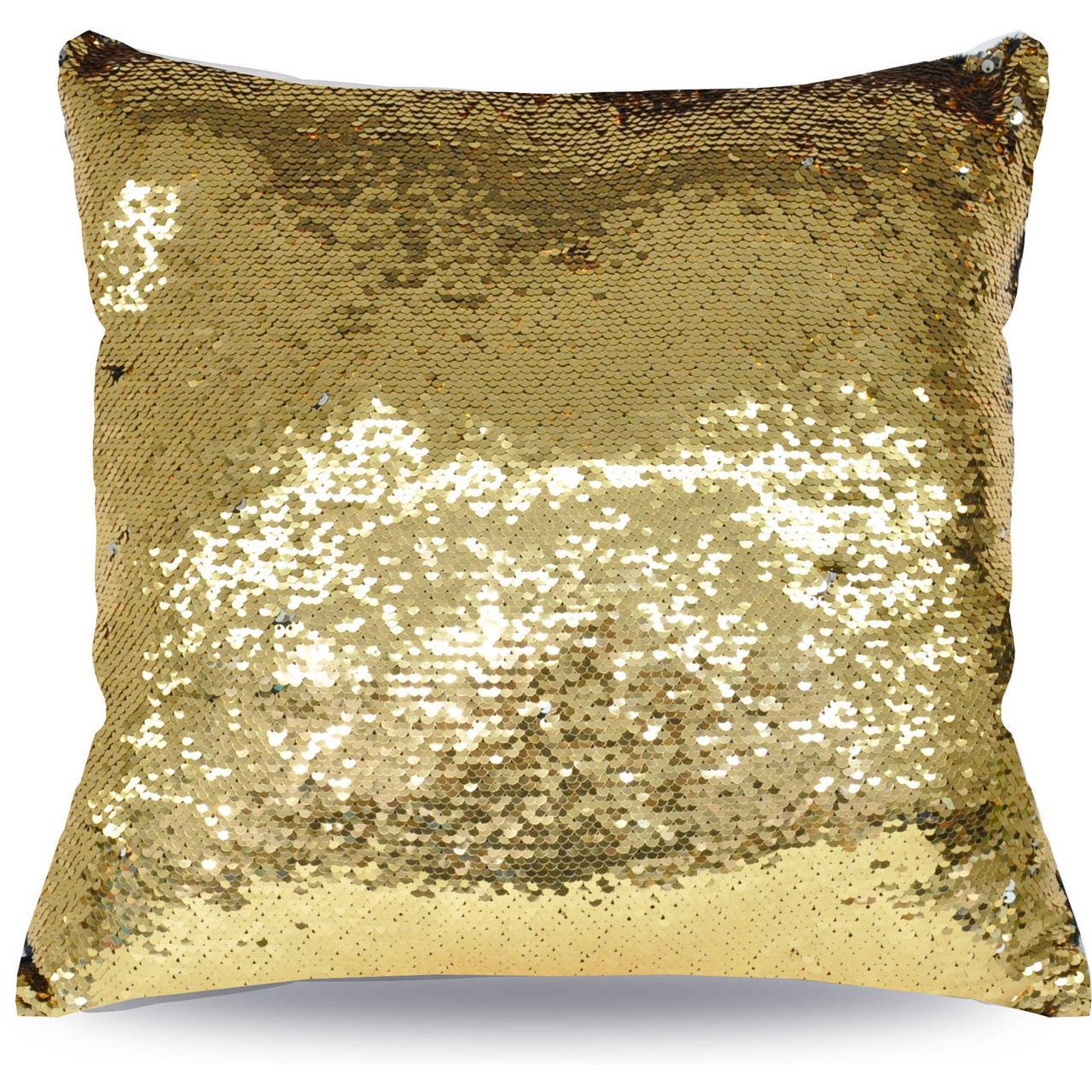 Подушка для сублимации с пайетками 40х40 (Золото/Белый)