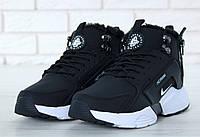 "Зимние кроссовки на меху Nike Huarache X Acronym City Winter Fur ""Black White"" - ""Черные Белые"" (Копия ААА+)"