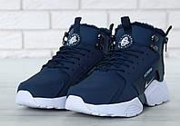 """Зимові кросівки на хутрі Nike Huarache X Acronym City Winter Fur """"Blue White"""" - """"Сині Білі"""" (Копія ААА+), фото 1"""