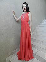 Вечернее длинное нарядное платье из красного кораллового шифона, с кружевом и жемчугом на свадьбу и выпускной