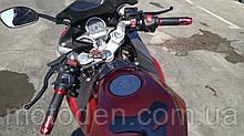 Ручки руля с подогревом красные металлические для мотоцикла, скутера.