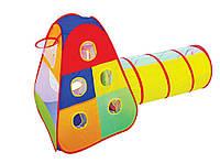 """Палатка №889-175B (12шт) """"С тоннелем и кольцом для игры в мяч"""", в сумке 47*45см"""