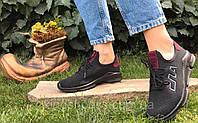 Кроссовки женские черные в стиле Fila сетчатые летние