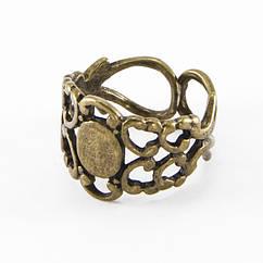 Основа для кольца, Латунь, Филигранная, Цвет: Бронза, Размер: Диаметр 18мм, Основа: Длина 9мм, Ширина 7мм, 1