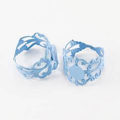 Основа для кольца, Латунь, Филигранная, Цвет: Голубой, Размер: Диаметр 18мм, Длина 16мм, Толщина 0.7мм, Размер