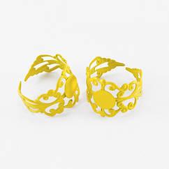 Основа для кольца, Латунь, Филигранная, Цвет: Желтый, Размер: Диаметр 18мм, Длина 16мм, Толщина 0.7мм, Размер