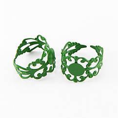 Основа для кольца, Латунь, Филигранная, Цвет: Зеленый, Размер: Диаметр 18мм, Длина 16мм, Толщина 0.7мм, Размер