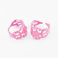 Основа для кольца, Латунь, Филигранная, Цвет: Розовый, Размер: Диаметр 18мм, Длина 16мм, Толщина 0.7мм, Размер