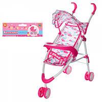 Візок сидячий №5828 для ляльки, прогулянкова, дах, колеса 3 шт., у візочку, 27-82-24 см.