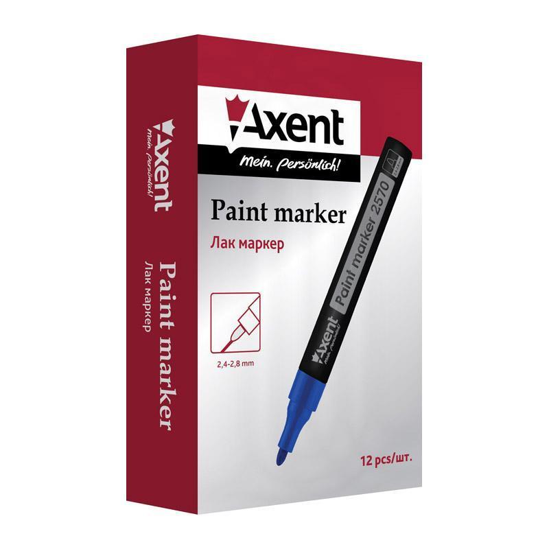 Лаковый маркер для металла резины  12 шт синий, Paint Axent  2570