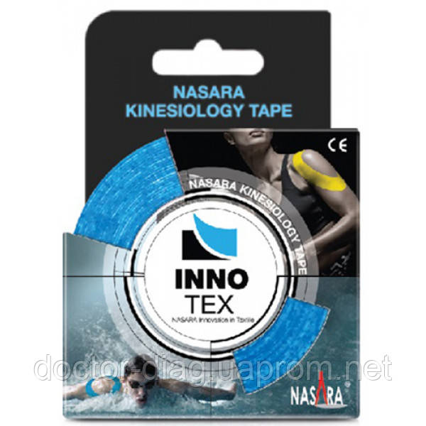 Nasara Кинезио тейп синтетический Nasara InnoTex 5см х 5м (голубой)