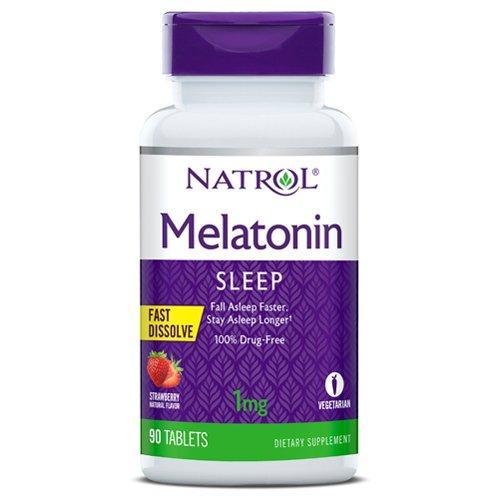 Мелатонін, Melatonin, Natrol, 1 мг, 90 таблеток повільного вивільнення