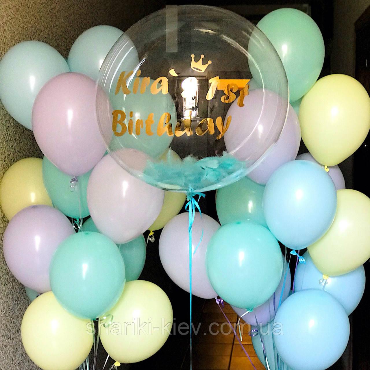 Оформление для девочки с шаром Баблс и латексными цветными шарами