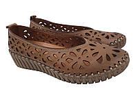 Туфли женские летние на платформе Molly Bessa из натуральной кожы, коричневые Турция