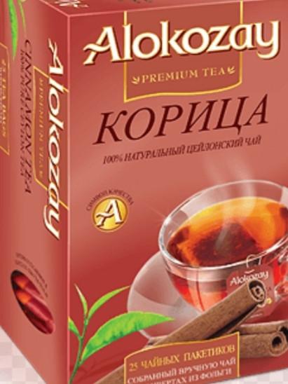Чёрный чай  ALOKOZAY с ароматом и вкусом кориці 25 пакетиков