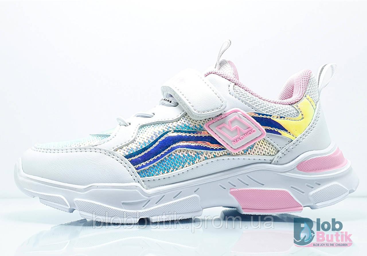 Кросівки дитячі білі для дівчинки.