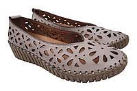 Туфли женские летние на платформе Molly Bessa из натуральной кожы, бежевые Турция