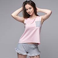 """Пижама женская """"Розовая майка и Серые шорты"""" Трикотаж"""