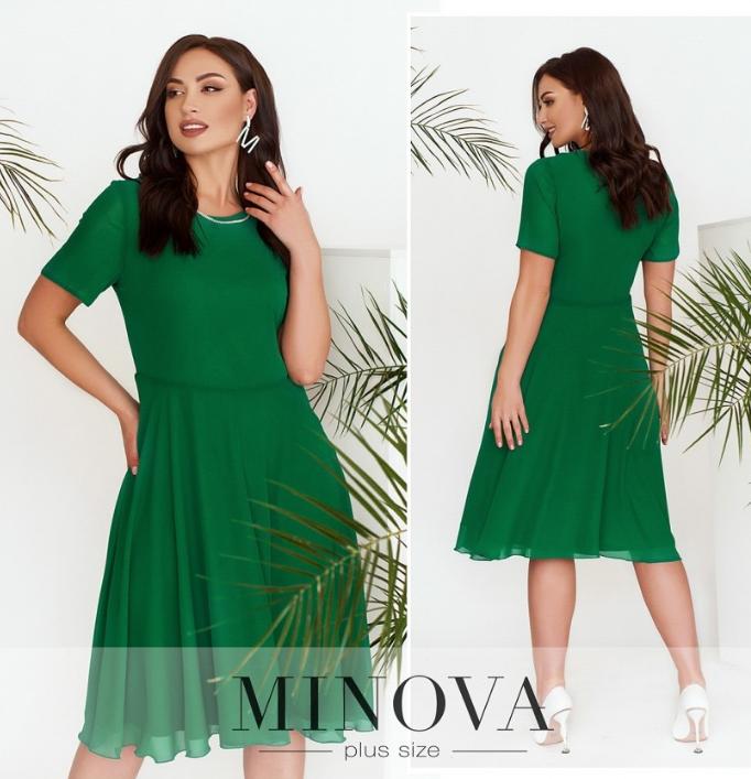 Зеленое шифоновое платье в большом размере Размеры:  48