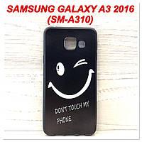 Силиконовый чехол с рисунком для Samsung Galaxy A3 2016 (SM-A310) Dont touch my phone