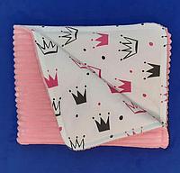 Плед - конверт  детский демисезонный из розового плюша Strins и хлопка, для вашего малыша в краватку, каляску