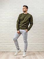 Мужской спортивный костюм - оливковый свитшот и серые штаны