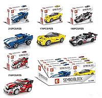 Конструктор для детей модель 607009-12, в наборе 4 вида спортивных машин 4-х цветов.