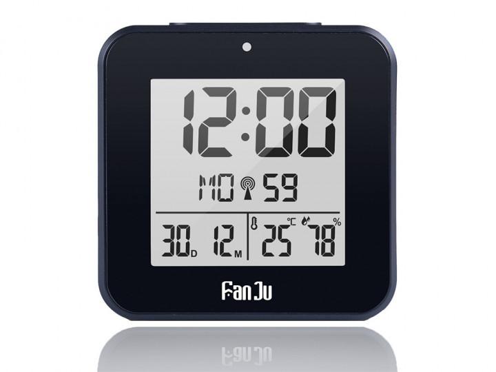 Цифрові годинник FanJu FJ3533 з термометром, гігрометром, календарем і будильником. Чорний колір
