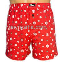Новогодние мужские красные семейные трусы шорты 001/007