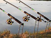Спиннинги 2,1м с катушками в сборе рыболовный набор 3шт, катушки, леска, подставки, убийца карася ПОДАРОК