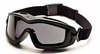 Тактическая защитная маска для глаз на резинке Pyramex V2G-PLUS с черными линзами, фото 1
