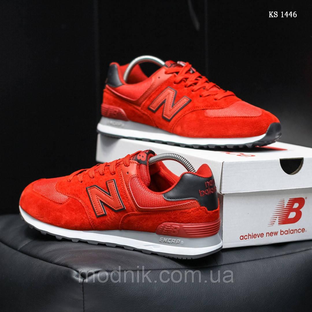 Замшевые мужские кроссовки New Balance 574 (красные) KS 1446