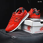 Замшевые мужские кроссовки New Balance 574 (красные) KS 1446, фото 9