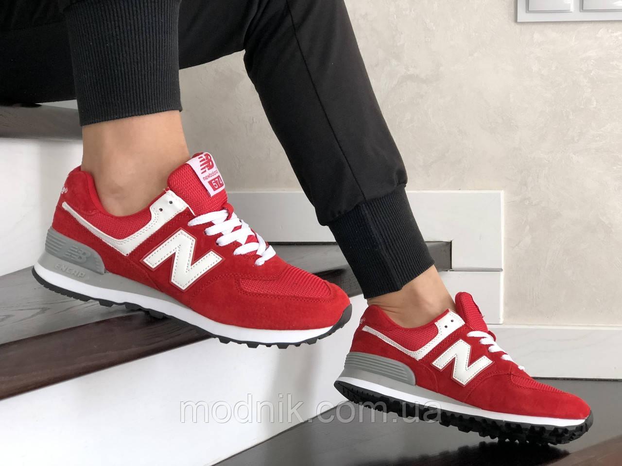 Женские замшевые кроссовки New Balance 574 (красно-белые) 9317