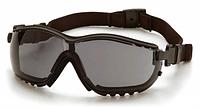 Защитные тактические очки Pyramex V2G с черными линзами и съемными дужками, фото 1