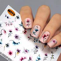 Слайдер-дизайн ЦВЕТЫ - водные наклейки для ногтей Fashion nails М278