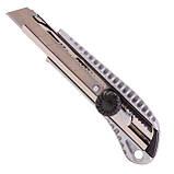 Нож с ломающимся лезвием 18мм, с металлической направляющей, противоскользящий корпус, с винтовой фиксацией, фото 4