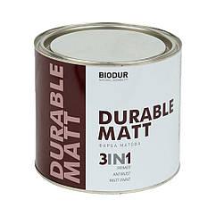 Краска матовая для металла Biodur 3 в 1, 2,1 л черная