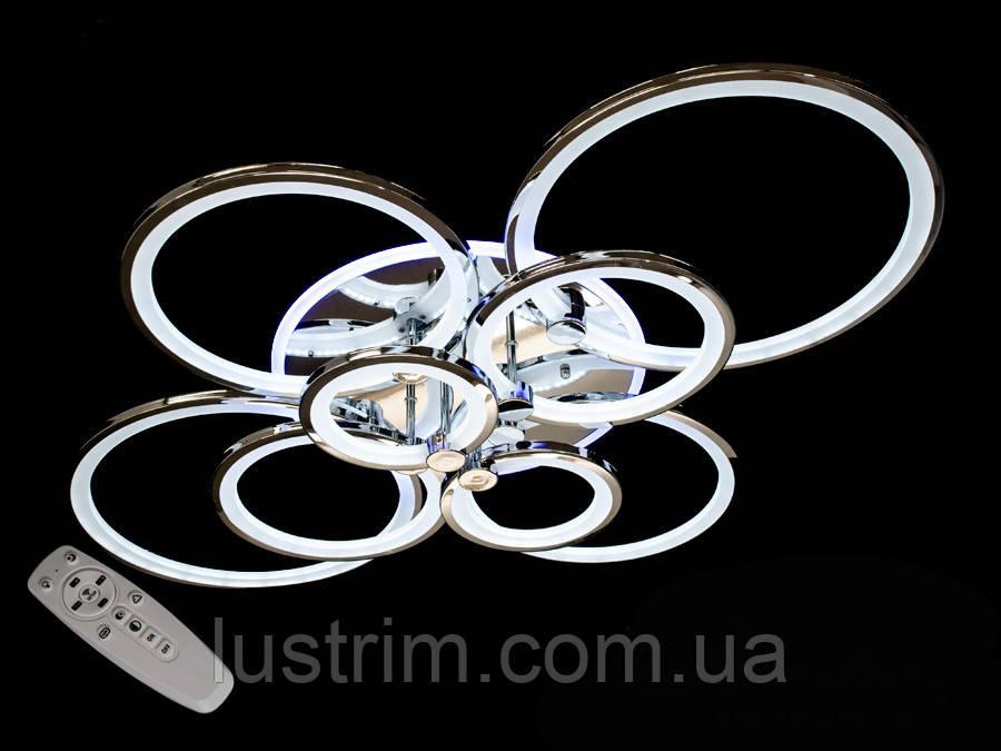 Светодиодная LED-люстра с диммером и цветной подсветкой, цвет хром, 235W